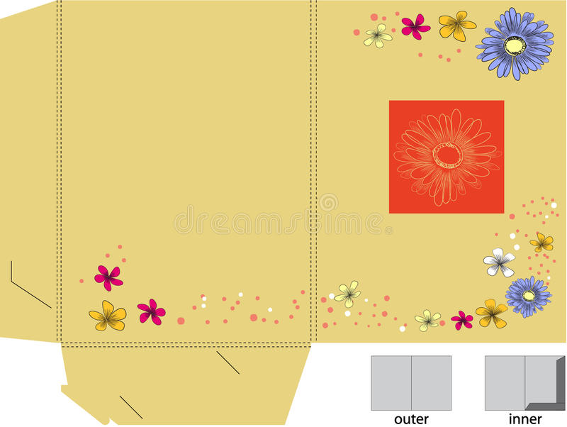 Decorative folder with die cut stock illustration