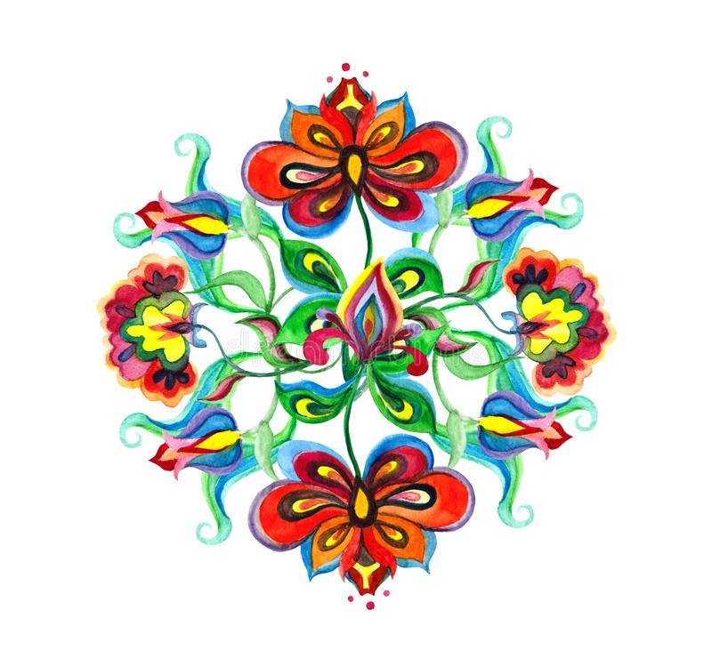 Decorative folk art of Eastern Europe - floral composition with native ornate flowers. Watercolor embroidery motif. Decorative folk art of Eastern Europe stock illustration