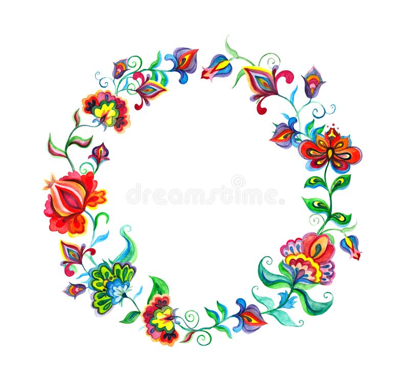 Decorative folk art flowers - floral wreath in slavic motifs. Watercolor royalty free illustration