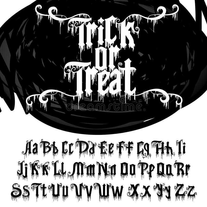 Decorative font named Trick or treat . Vector alphabet. Decorative font named Trick or treat . Comic Letters. Typography for headlines, posters, logos etc royalty free illustration