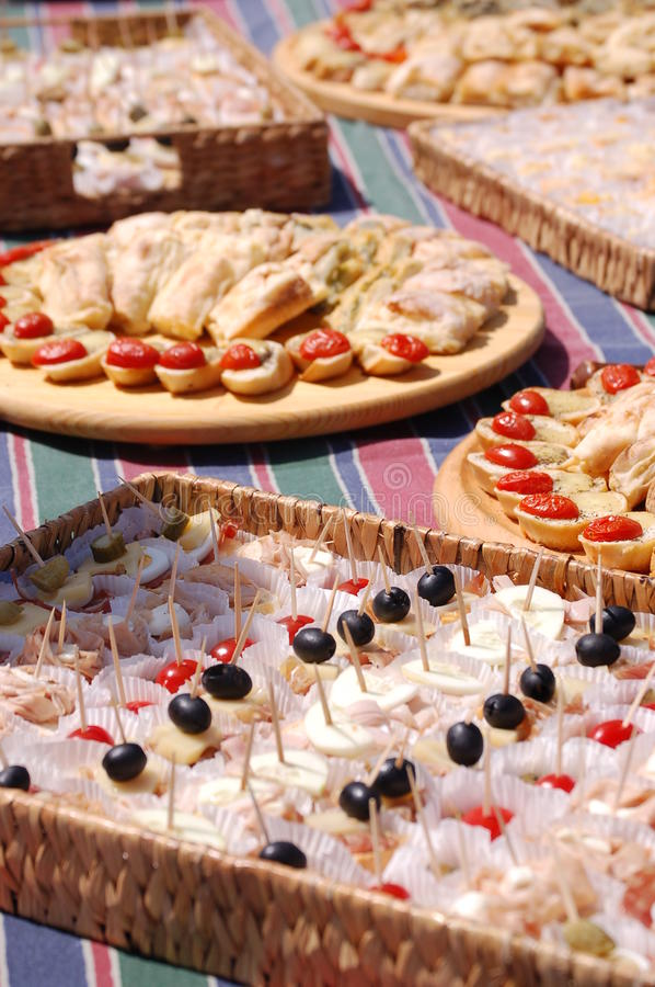 Decorative food. On trays prepared for the party royalty free stock image