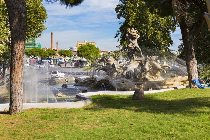 Decorative fountain near the train station in Catania stock photo