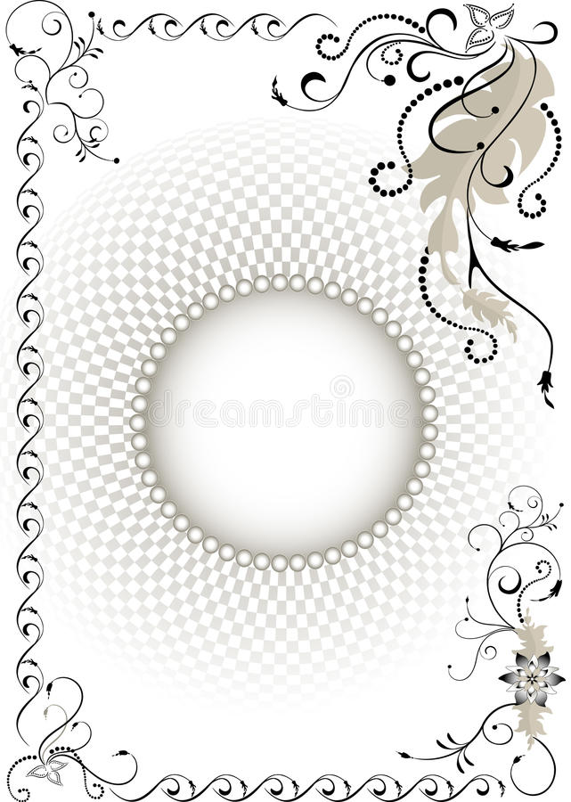 Decorative frame on the background volume grid.Gra stock image
