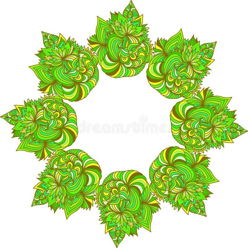 Decorative frame or border. Abstract element. Green stylized wreath. Decorative frame or border for design. Abstract element. Green stylized wreath royalty free illustration