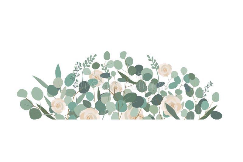 Decorative frame or border element with rose flowers and eucalyptus. Decorative frame or border element with white rose flowers and eucalyptus. Greeting, wedding stock illustration