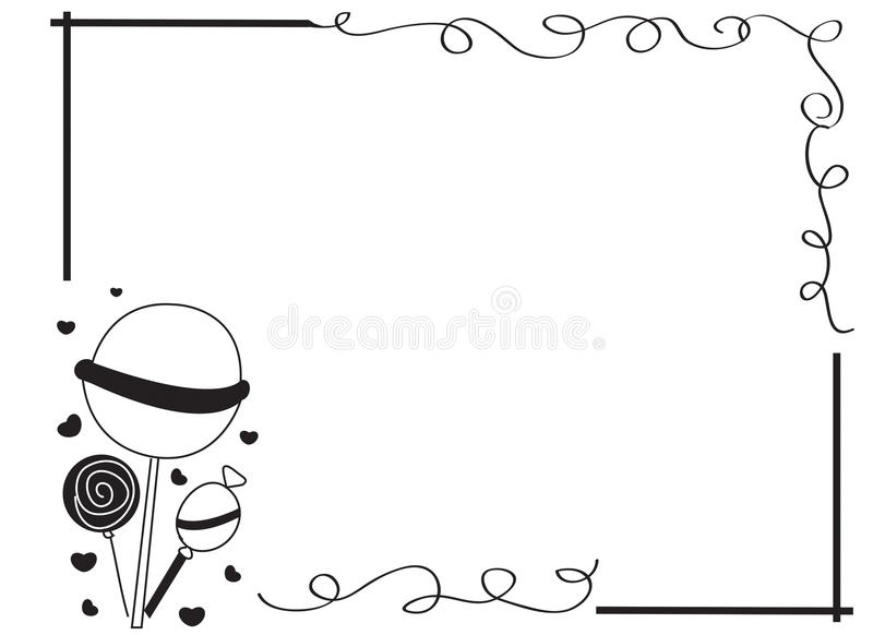 Decorative frame border with lollipops royalty free illustration