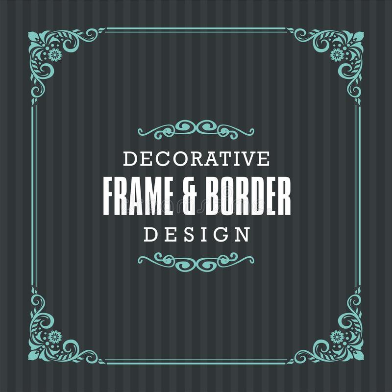 Decorative frame, border with Ornamental Line style. Suitable for decoration of wedding invitations, greetings, birthday, Valentine`s Day, mother`s day and royalty free illustration