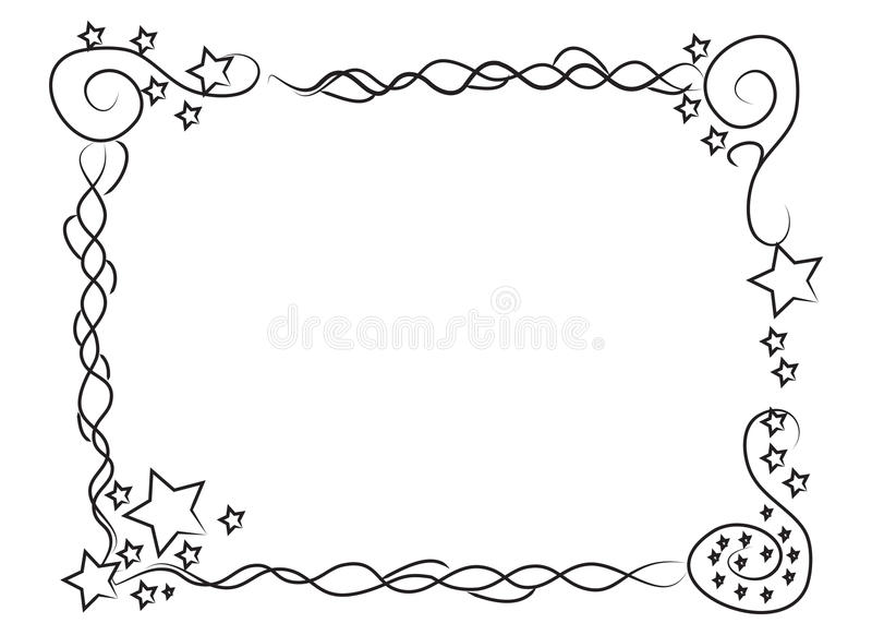 Decorative frame border with stars and spirals. Hand drawn frame border with stars and spirals for your photos or texts stock illustration