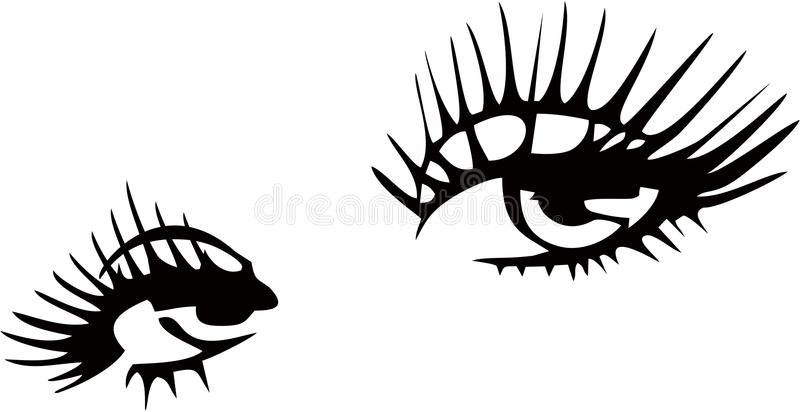 Eye with Long Lashes. In decorative Frame Brows Logo stock illustration