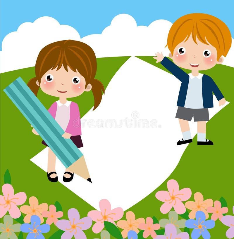 Decorative frame with children vector illustration