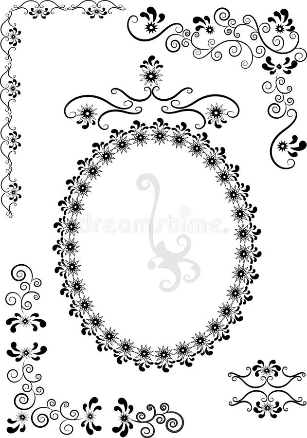 Decorative frame and corners .Graphic drawing.