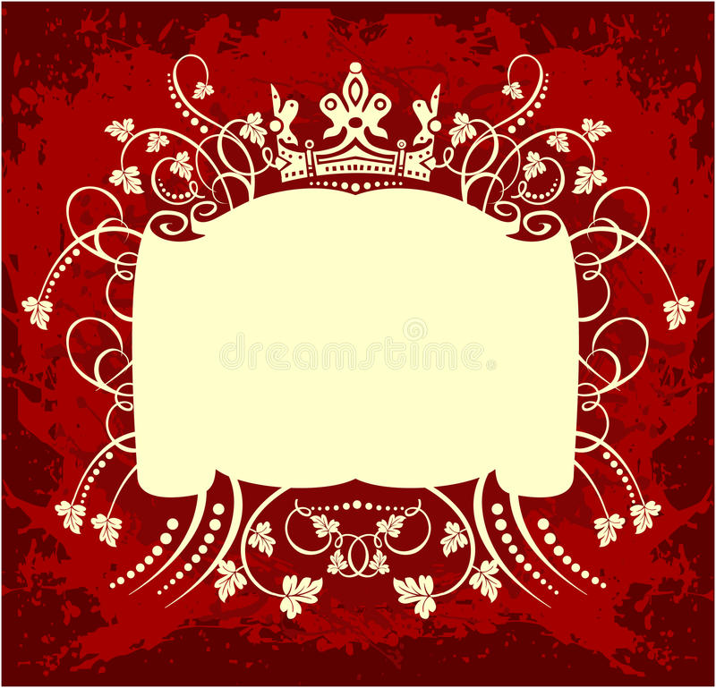 Decorative frame with crown. Decorative red floral frame with crown and leaves royalty free illustration