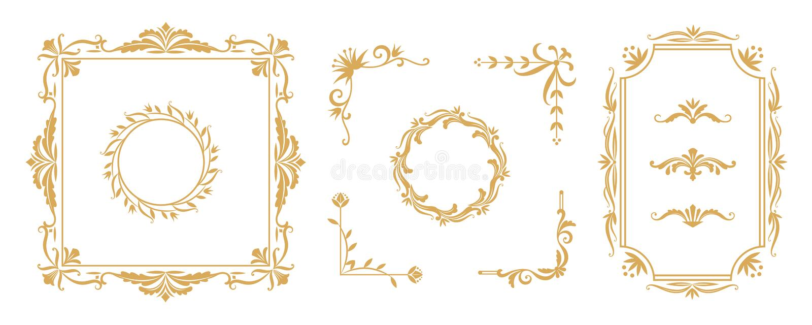 Decorative frame elements. Vintage floral ornamental borders and dividers for greeting and invitation cards. Vector stock illustration