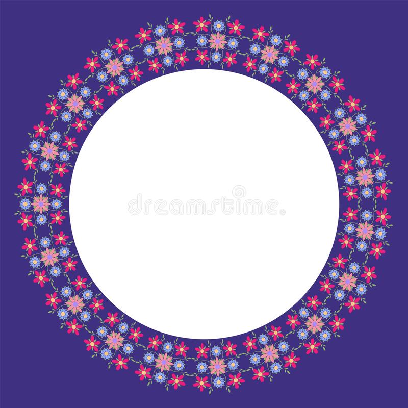 Decorative frame with floral ornament in flat style. A circular ornament for your design royalty free illustration
