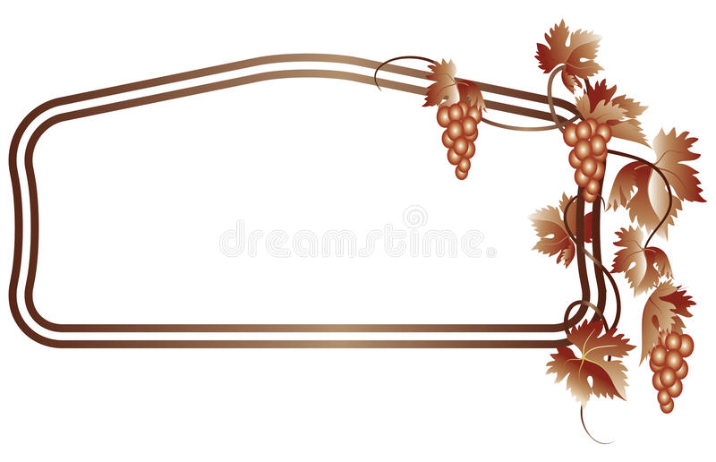 Decorative frame with grapes stock illustration