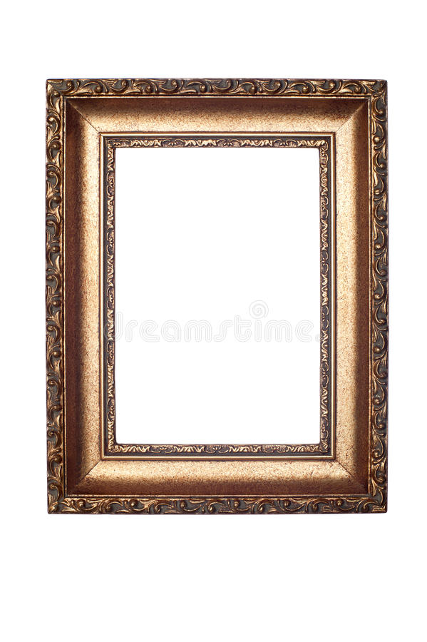 Decorative frame isolated on white. A decorative antiques picture frame isolated on white stock photos
