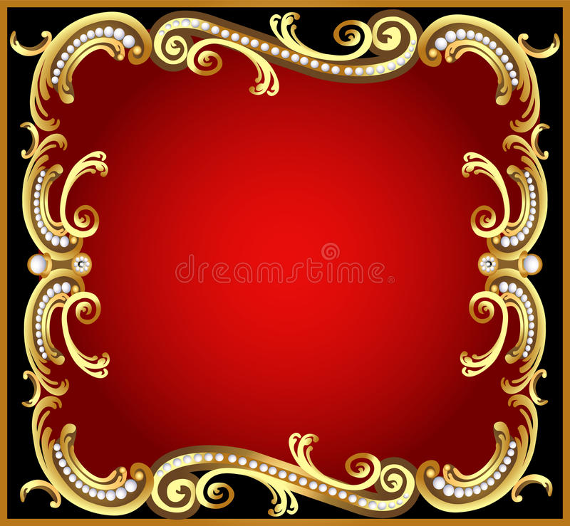 Decorative frame with pattern gold pearl vector illustration