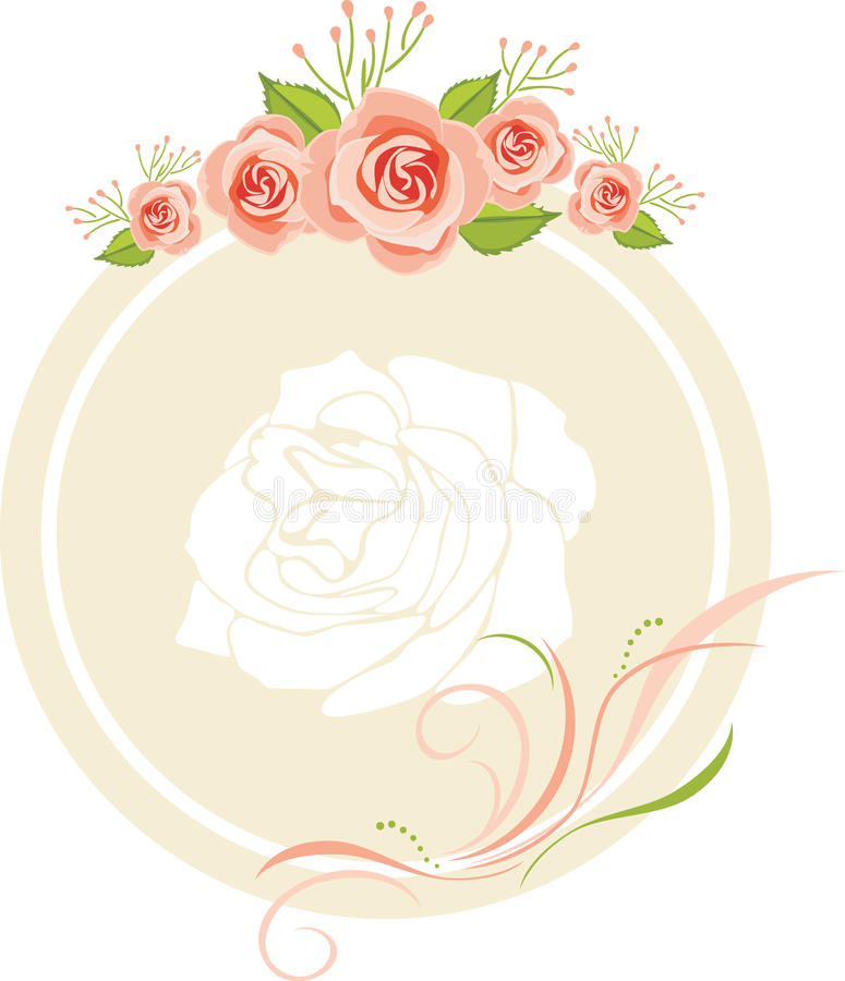 Decorative frame with pink roses for greeting card design stock images
