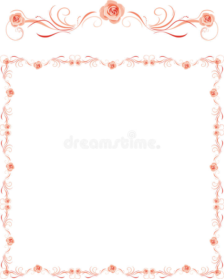 Decorative frame with pink roses for greeting card royalty free stock photos