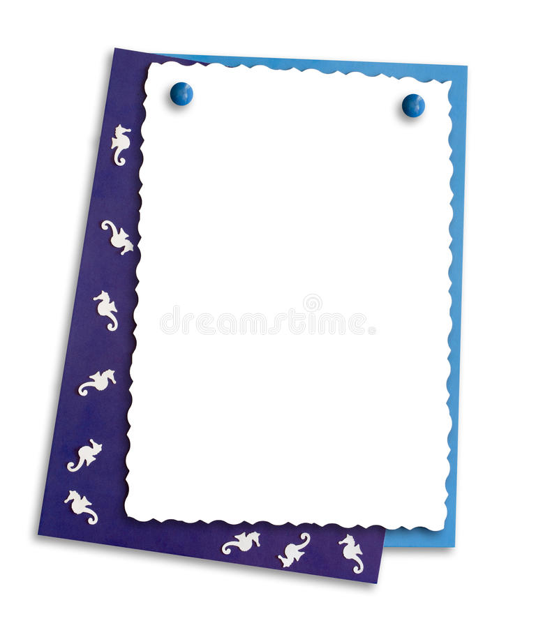 Decorative frame with seahorses, isolate royalty free stock photography