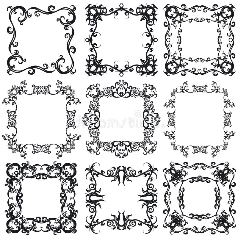 Download Decorative frame set I b&w stock vector. Illustration of stem - 4223834