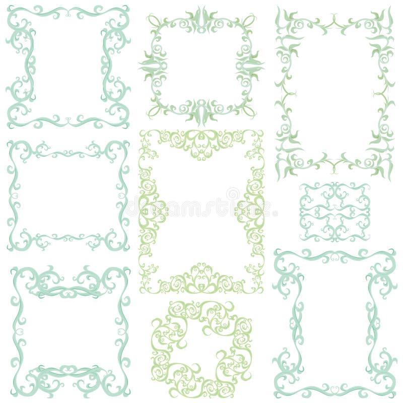 Decorative frame set III. Decorative frame set, color. 9 floral elements royalty free illustration