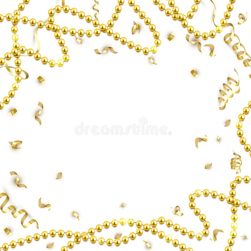 Decorative frame with shiny realistic gold beads, jewelry, vector illustration background stock illustration