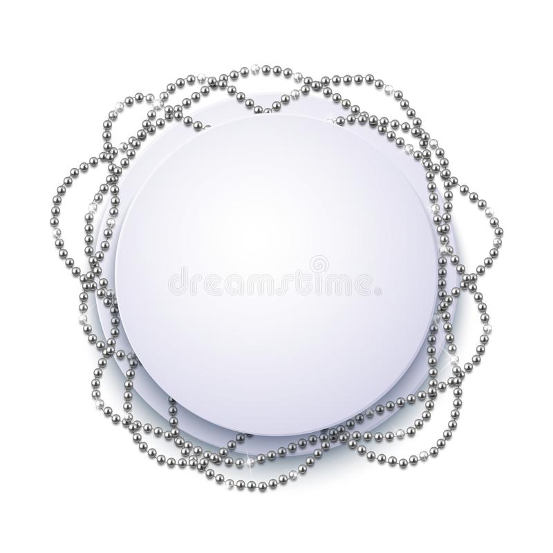 Decorative frame with shiny realistic silver beads, jewelry, vector illustration background. Design royalty free illustration