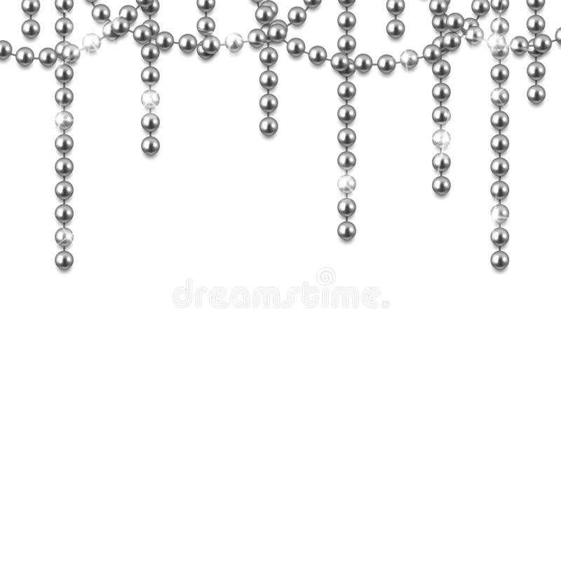 Decorative frame with shiny realistic silver beads, jewelry, vector illustration background. Design stock illustration