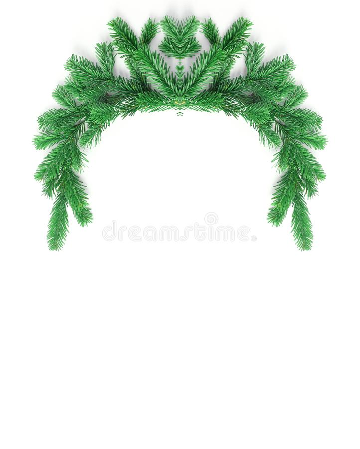 Decorative frame of spruce branches. Christmas creative concept. vertical banner, simple flat lay composition stock images