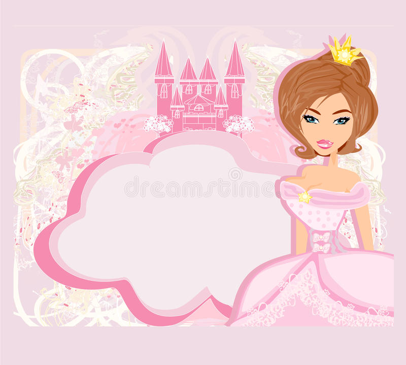 Free Decorative Frame With Beautiful Princess And Pink Castle Royalty Free Stock Photos - 44468178