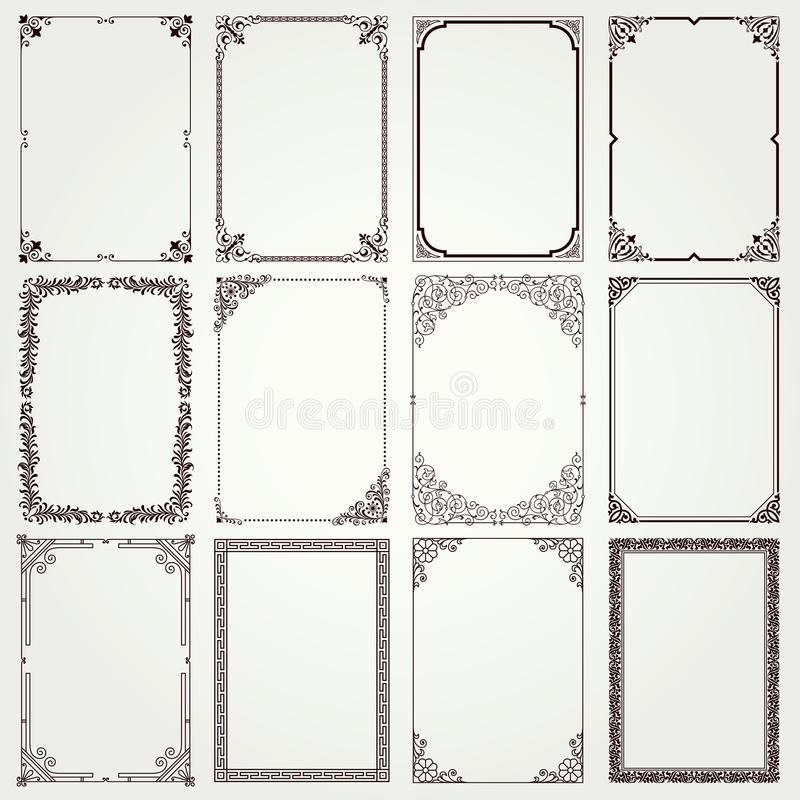 Decorative frames and borders A4 proportions set #4 royalty free illustration