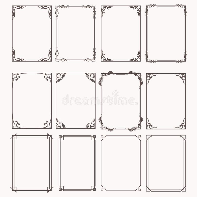 Decorative frames and borders rectangle proportions set. Eps 10 royalty free illustration