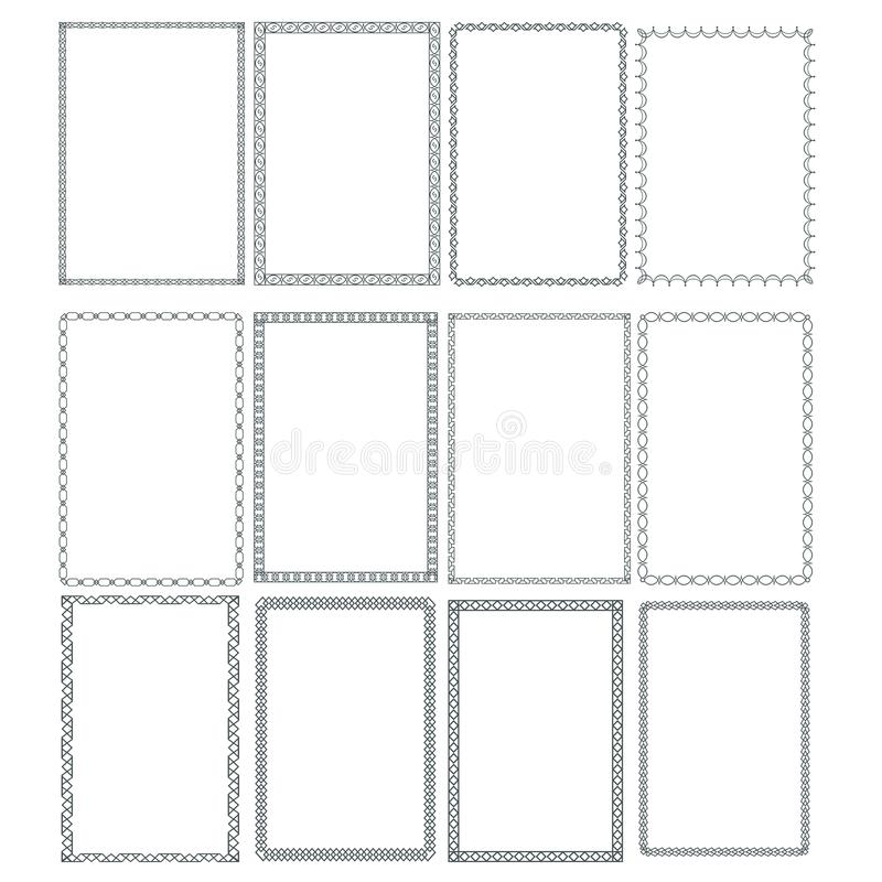 Decorative frames and borders rectangle proportions set. Eps 10 vector illustration