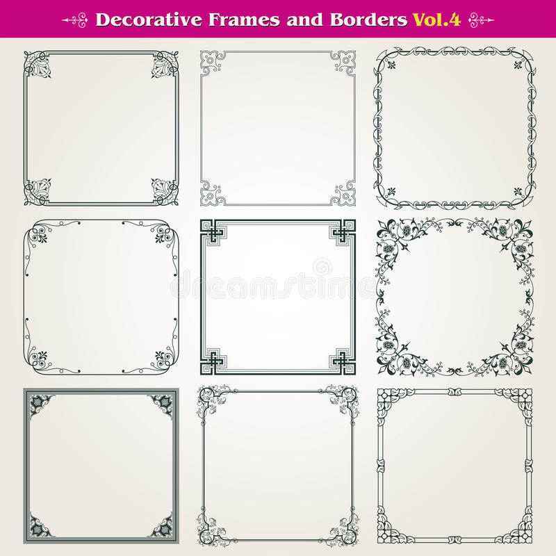 Decorative frames and borders set vector stock illustration