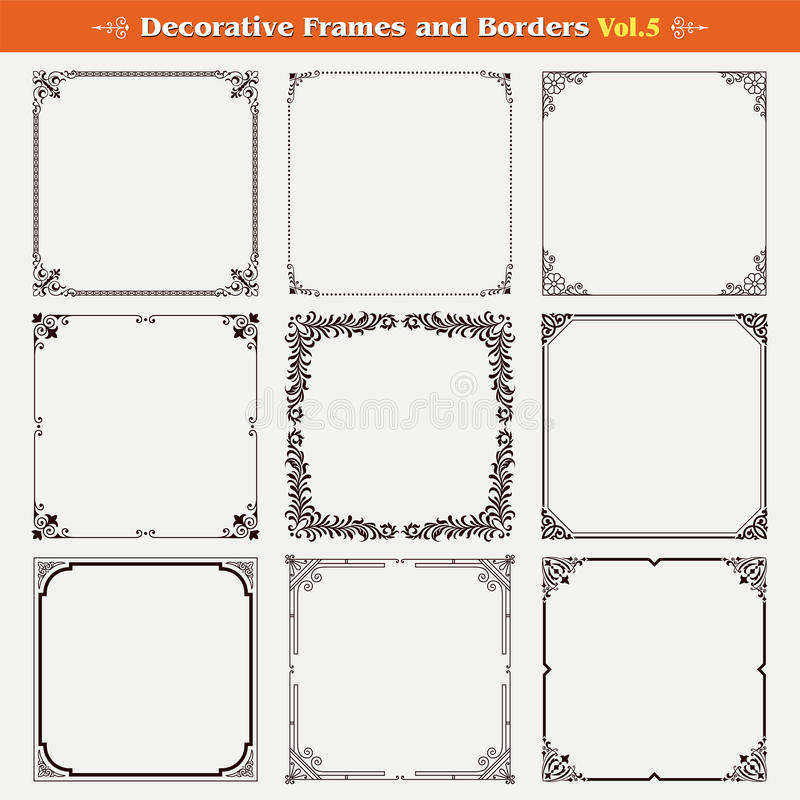 Decorative frames and borders 5 vector. Decorative frames and borders set 5 vector royalty free illustration