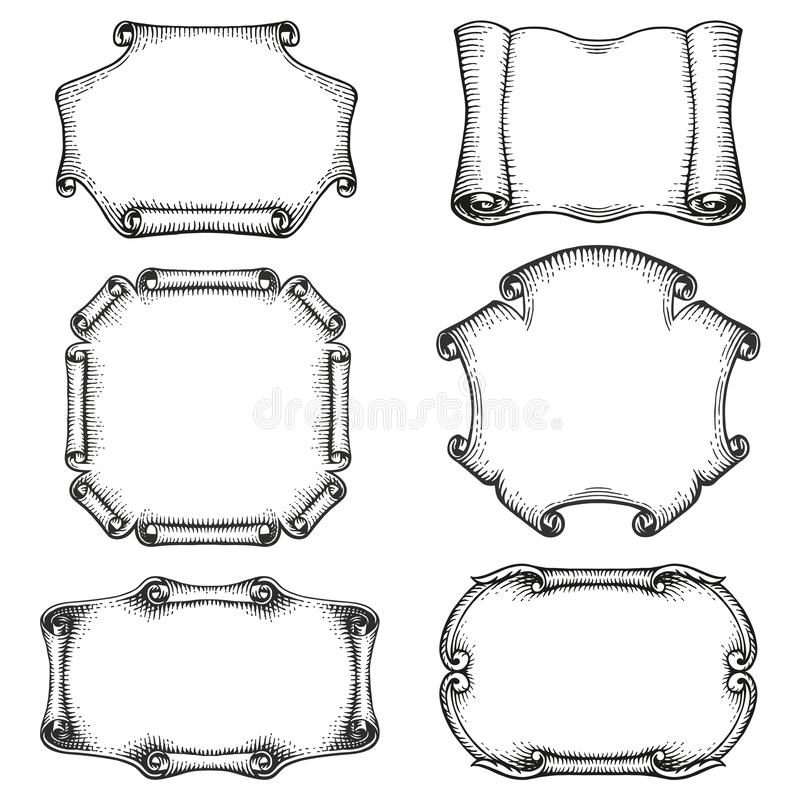 Decorative frames and borders vintage scroll stock photos