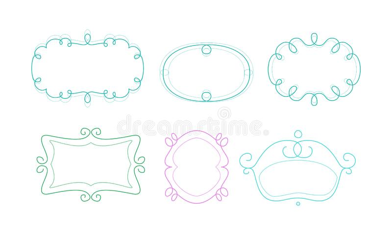Decorative frames with space for text, design elements can be used for banner, picture, photo, greeting card, wedding stock illustration