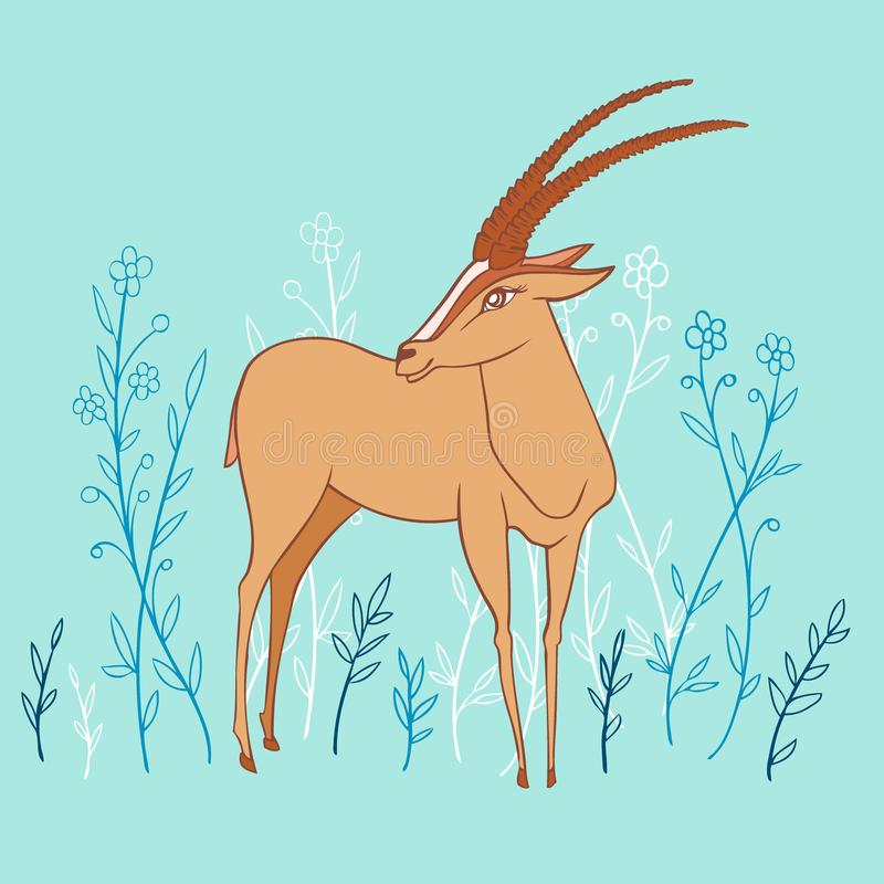 Decorative Gazelle colorful hand drawn vector cartoon doodle animal illustration, standing African safari antelope with royalty free illustration