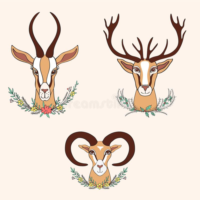 Decorative Gazelle, Deer, Ram graphic hand drawn vector cartoon vector illustration