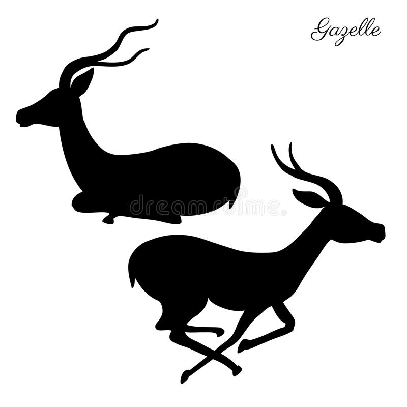 Free Decorative Gazelle Graphic Hand Drawn Vector Cartoon Doodle Animal Illustration, Running And Sitting African Safari Stock Images - 113277424