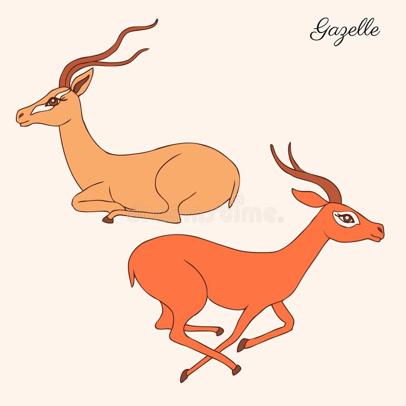 Decorative Gazelle graphic hand drawn vector cartoon doodle animal illustration, running and sitting colorful African stock illustration