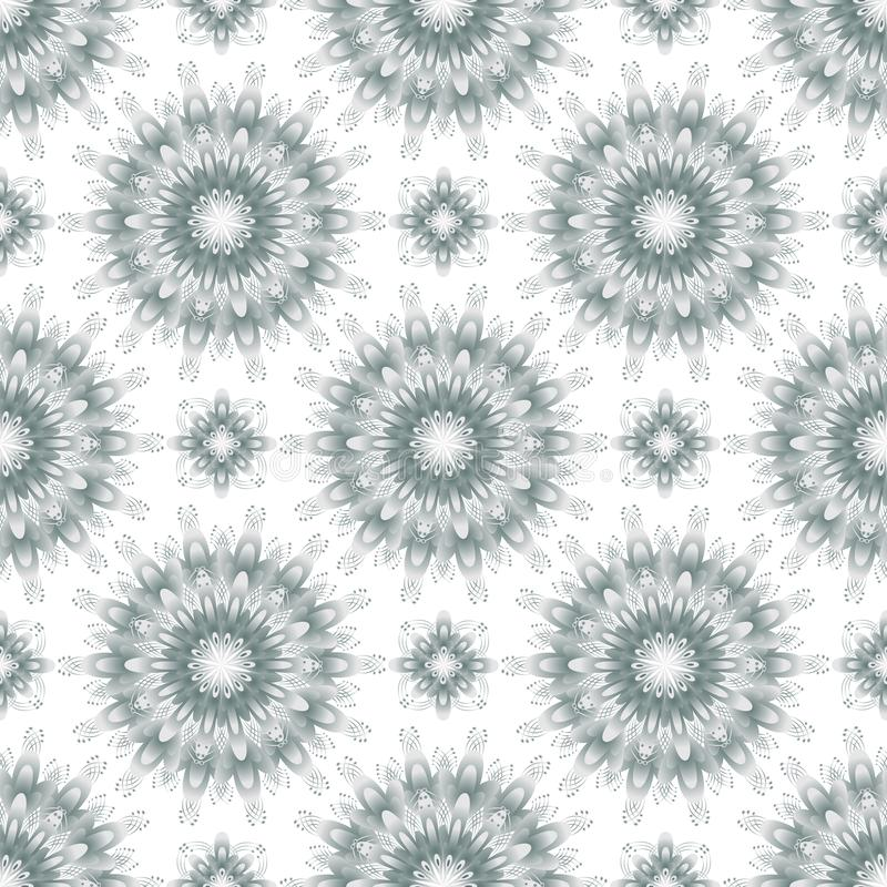 Decorative geometric fractal fantasy flowers ornament seamless pattern, gray color, izolated on white background stock illustration