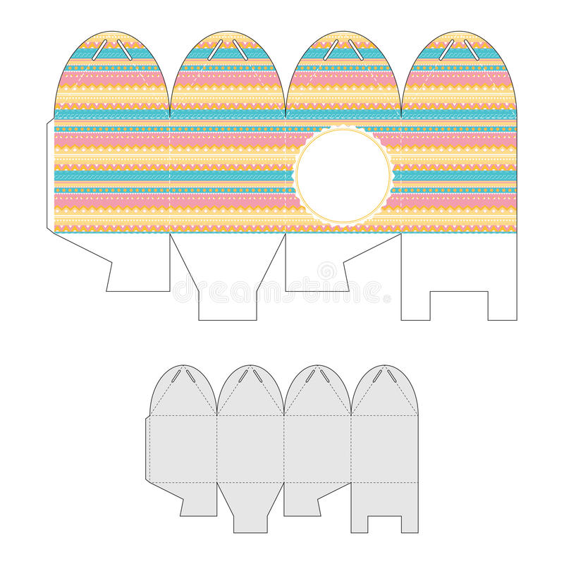 Decorative gift box with a geometric pattern. Bonbonniere. stock illustration
