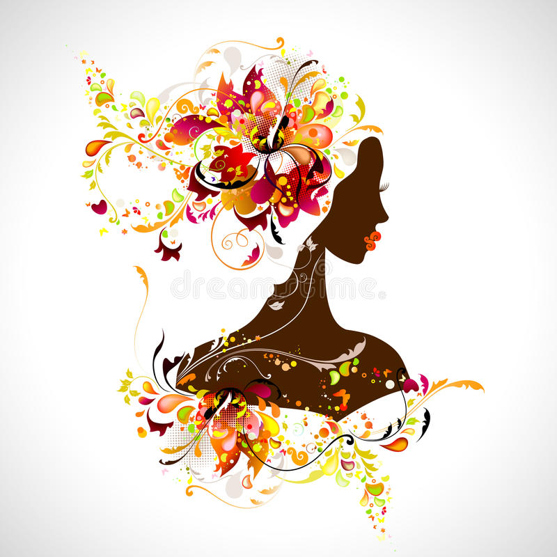 Decorative girl. Summer abstract decorative compositions with girl vector illustration