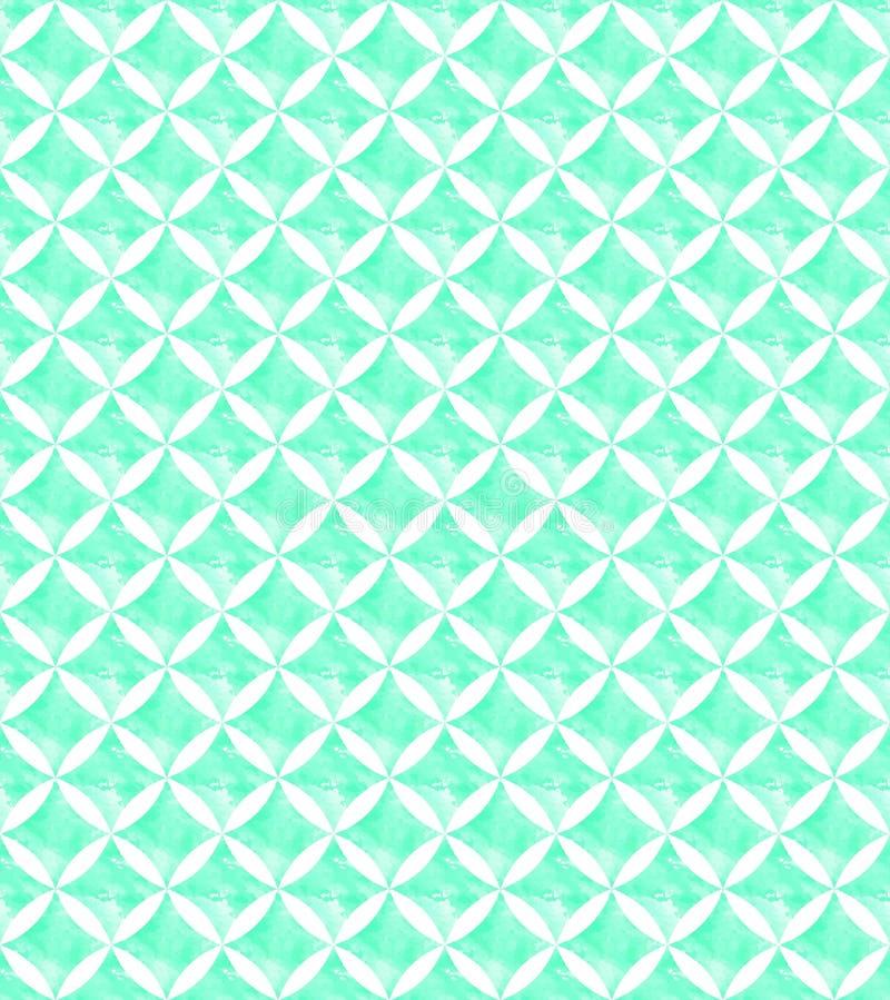 Decorative  geometric whatercolor effect seamless repeat pattern in bright aqua green tones stock photo