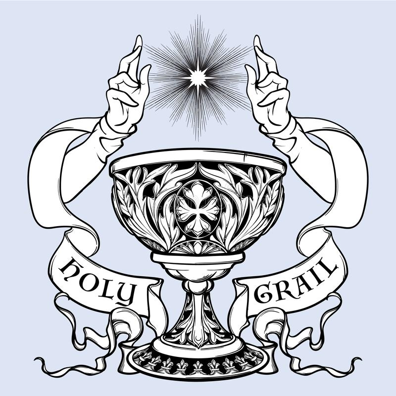 Decorative Goblet. Medieval gothic style concept art. Design element. Black a nd white drawing isolated on grey stock illustration