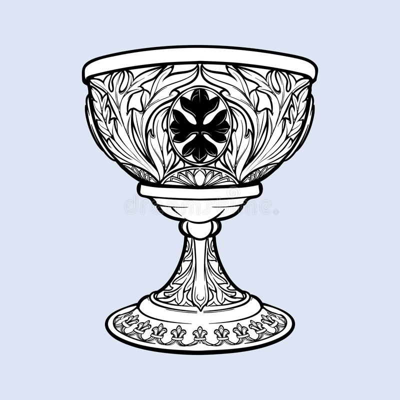 Decorative Goblet. Medieval gothic style concept art. Design element. Black a nd white drawing isolated on grey royalty free illustration