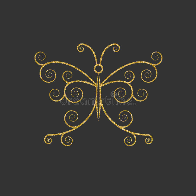 Decorative gold butterfly. Elegant linear silhouette. Item for logo. royalty free illustration