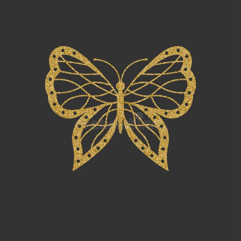 Decorative gold butterfly. An elegant silhouette. Item for logo. stock illustration